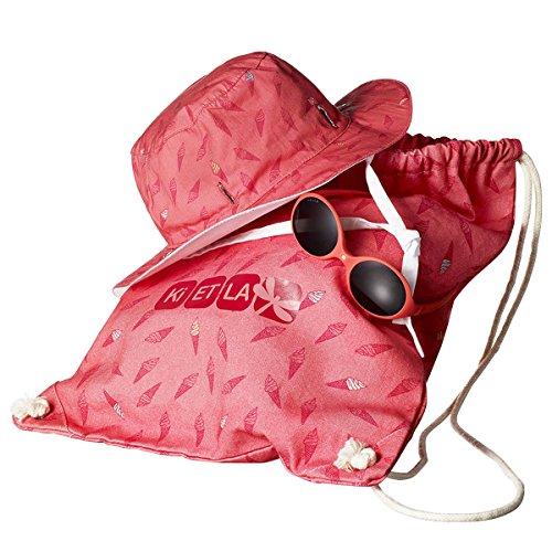 Kit Sun Set Ki ET LA – Kit playa para bébes – Gafas de sol y gorro anti-UV – Color frambuesa - 0-18 meses