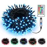 BrizLabs RGB Xmas Tree Light, 33ft 100 LED Color Changing Christmas Lights Unique Dual Color USB Powered String Lights with Remote, Indoor Outdoor Twinkle Lights for Room Christmas Party Wedding Decor