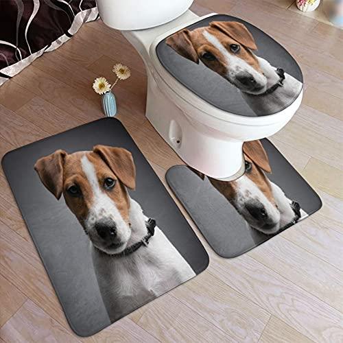 GUVICINIR Alfombrillas de baño Set 3 Piezas,Retrato de Jack Russell Terrier Carlos Restrepo con Contacto Visual de Cuello Negro,Alfombra de Piso Antideslizante Alfombra de Inodoro