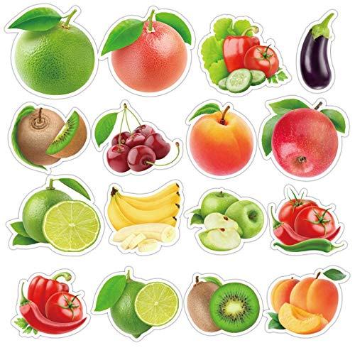 WEIYUE 50 piezas/lote exquisitos dibujos animados de frutas frescas y verduras pegatinas para cocina, panadería, taza, refrigerador, juguete educativo para niños (color: 100 piezas no repetidas)