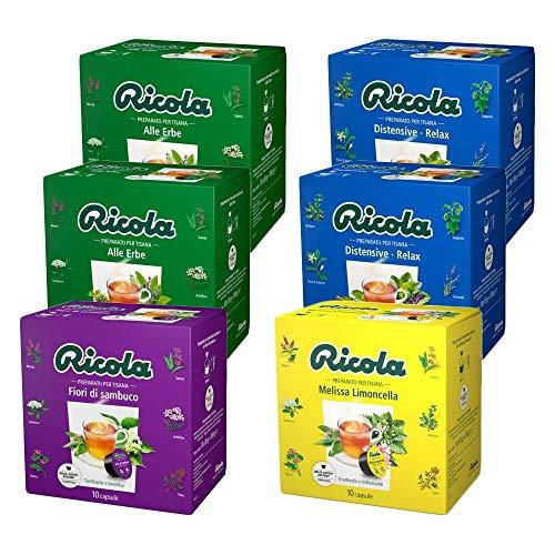RICOLA 60 Capsule Solubili Variety Pack Degustazione Tisane, 6 Pack da 10 Capsule, Cialde Autoprotette Compatibili con Macchina / Macchinetta Nescafè Dolce Gusto, Made in Italy