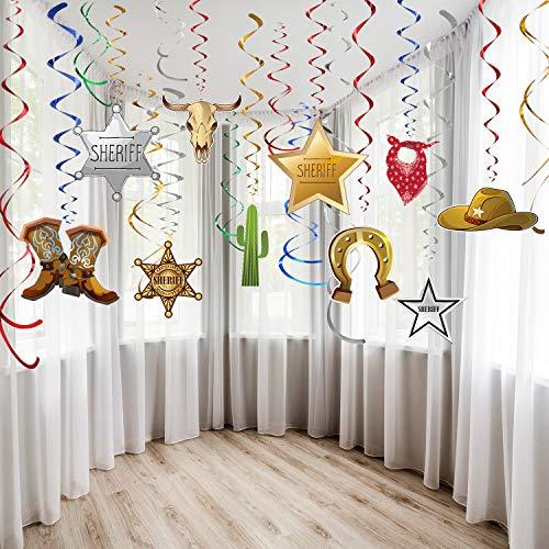 Blulu Western Party Dekorationen Pack Hängende Wirbel Folie Wirbelt Party Decke Dekorationen Western Cowboy Thema Party Barnyard Thema Geburtstag Baby Dusche Dekor Event Lieferungen 30Ct