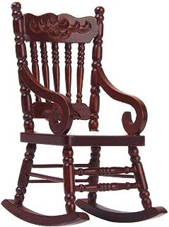 Hieefi 1PC Popular 1/12 Dollhouse Miniature Wooden Model Rocking Chair Cute Furniture Toy Dollhouse Accessories (Brown)