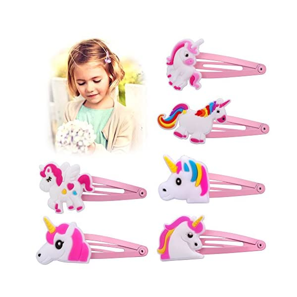 Konsait Unicorn Party Favors,Unicorn Elastic Hair Ties,Hair Clips,Rainbow Unicorn Headbands for Girls Kids Rainbow Unicorn Birthday Party Supplies Baby Shower Party Fillers Set(23pack) 6