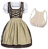 Gaudi-Leathers Dirndl Set Marrón con Beige Traje Tradicional de Tirolesa Vestido Moda Alemana de Oktoberfest carnevale para Mujer con Push-Up Shaper 34 S