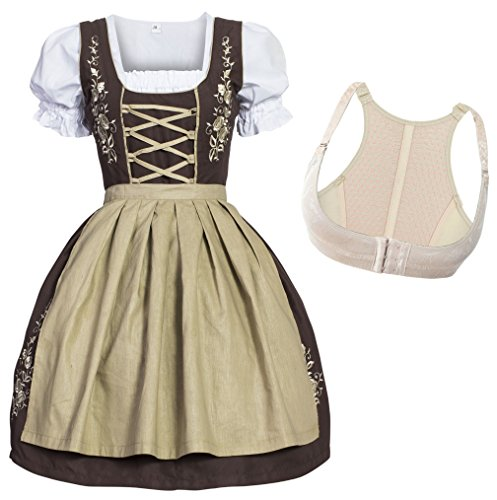 Gaudi-Leathers Dirndl Set Marrón Traje Tradicional de Tirolesa Vestido Moda Alemana de Oktoberfest carnevale para Mujer con Push-Up Shaper