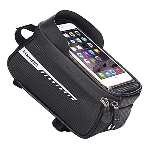 KEUNGSHEK Bolsa para cuadro de bicicleta, resistente al agua, para manillar de bicicleta, funda para teléfono móvil, soporte de navegación, resistente al agua, color negro