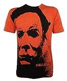 Halloween Men's Michael Myers Splatter Mask Allover T-Shirt Heather Orange M
