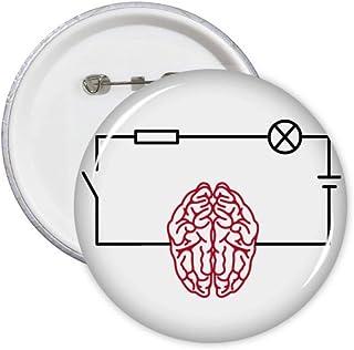 Lot de 5 badges de décoration en forme de circuit cerveau