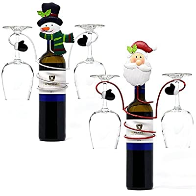 Santa and Snowman Wine Bottle and Glasses Metal Holder