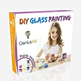 Genius Art DIY Glass Painting - Arts and Crafts Kit for Girls and Boys - Gifts for 5 6 7 8 9 10 11 12 Year Old Girl - Hottest Toys for Christmas 2019