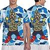 Men Boys Cartoon Bapes Camo Shark Teeth Art Shirts Essential Short Sleeve Shirts Top Big and Tall Size Summer Sportswear for Sport Game Golf, Crewneck, Fast Dry, Sweatproof #2