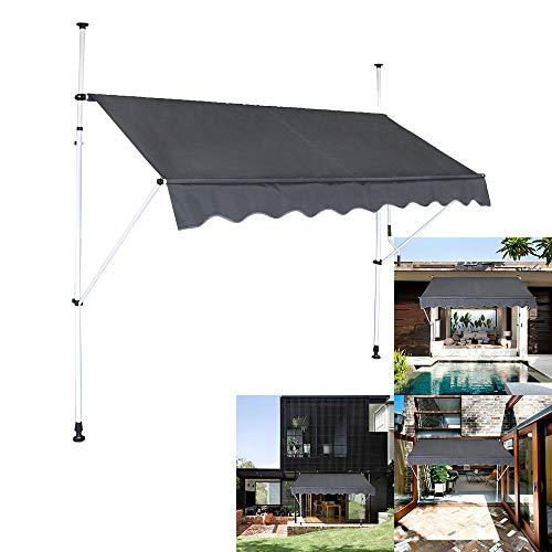 Klemmmarkise Balkon, Handkurbel, höhenverstellbar, UV-beständig, ohne Bohren, 100% Polyester, Dunkelgrau, 350 x 120 cm