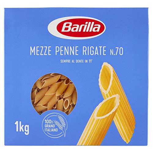 Barilla Pasta Mezze Penne Rigate N.70, Pasta Corta di Semola di Grano Duro, I Classici, 1kg