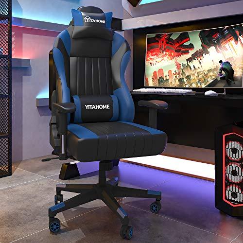 YITAHOME Gaming Stuhl Bürostuhl PC Stuhl Schreibtischstuhl Racing Stuhl, Ergonomischer Spielstuhl mit Kopfstütze und Lendenwirbelstütze, 401lbs Belastbarkeit, PU-Leder, Schwarz-Blau