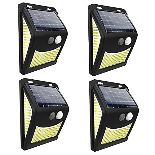 Luces solares led exterior jardin 222 LED 4 uds 4 modos 3 superficies de alumbrado con sensor de...