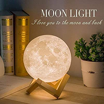 Mydethun Moon Lamp Moon Light Night Light for Kids Gift for Women USB Charging and Touch Control Brightness 3D Printed Warm and Cool White Lunar Lamp(5.9 in Moon lamp with Stand) by mydethun.Co
