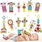 Bloobloomax Baby Soft Toy Foot Finder Socks Wrists Rattles Ankle Leg Hand Arm Bracelet Activity Hanging Rattle Baby Shower Present for Infant Toddler Boy Girl Bebe (12 Animals)