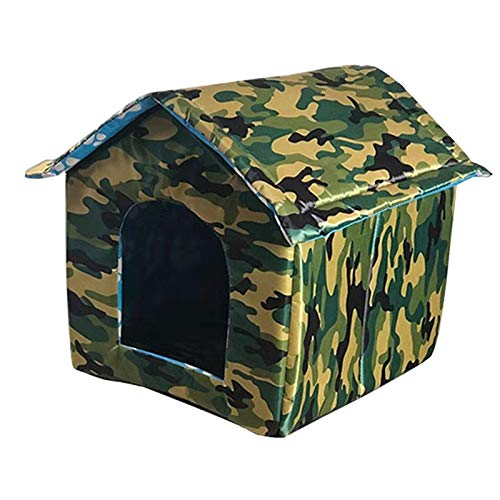 Waterproof Pet Outdoor Cat House Thickened Nest Tent Cabin Feral Foldable Green