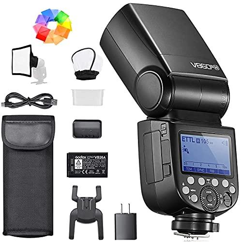 Godox V860III-N Flash per fotocamere Nikon 76Ws 2,4G HSS 1/8000s con luce regolabile a 10 velocità 7,2 V/2600 mAh batteria al litio con diffusore, filtro colorato, mini softbox