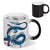 Heat Sensitive Color Changing Coffee Mug, Dragon Mythical Creature Japanese Culture Folk Print Magic Milk Tea Cup for Men Women Funny Ceramic Mugs Christmas Gifts, 11 Oz