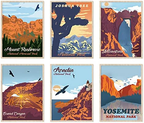 YUMKNOW Vintage National Park Posters Unframed Wall Art Set of 6 8x10 inch Abstract Canvas Wall product image