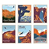 YUMKNOW Vintage National Park Posters - Unframed Wall Art Set of 6, 8x10 inch, Abstract Canvas Wall Art for Living Room Wall Decor for Bathroom, Mountain Wall Art Print, Nature Pictures, Travel Art