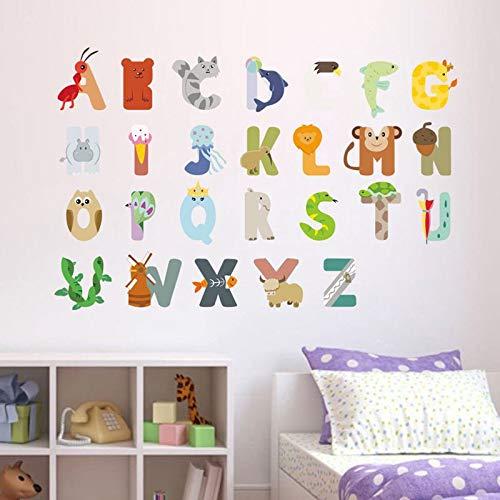ZYLBL Pegatinas de pared con 26 letras inglesas, para aula, guardería, niños, decoración de pared, 2 unidades