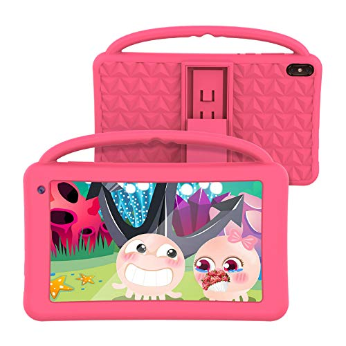 Kids Tablet 7 Inch Quad Core Kids Learning Tablet Android 10 WiFi Bluetooth Camera 32G GMS for Home School Children Infant Toddlers Parent Control Educational Apps Kid-Proof Case Great Gift for Pink