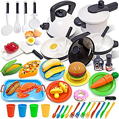 GJOF2YK Kids Kitchen Toy Cookware with Play Food Toy Set,Kitchen Play Accessories with Pots and Pans,Cutting Food Toy Utensils,Play Dishes Learning Toys Gift for Toddlers Boys Girls(72 PCS)