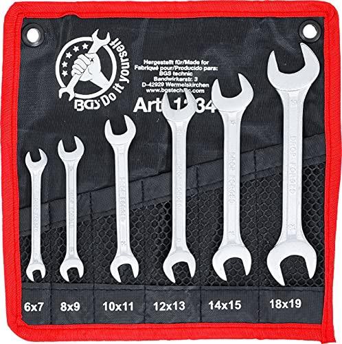 BGS Diy 1234 | Jeu de clés plates doubles| 6 x 7 - 18 x 19 mm | 6pièces