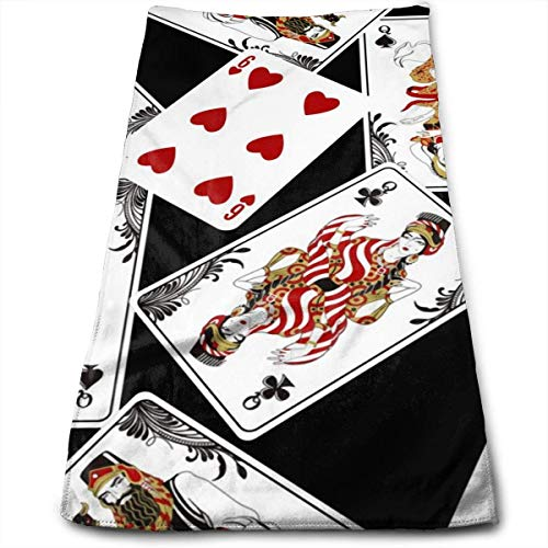 Poker Playing Cards Toalla de Playa de Gran tamaño 100% poliéster Toalla de baño Absorbente Toalla de baño esponjosa de Secado rápido (30 x 70 Pulgadas)