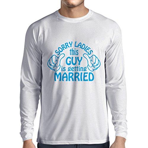 Camiseta de Manga Larga para Hombre Lo Siento señoras - Regalo Gracioso, Citas de Beber, Lemas de la Barra, Tiempo de Fiesta, Humor del Alcohol (Large Blanco Azul)