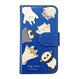 【moimoikka】 iPod touch6 アイポッドタッチ6 手帳型 スマホ ケース hug me みんな(総柄) 猫 ねこ ネコ 柴犬 しば 犬 ペンギン ハムスター うさぎ ウサギ パンダ アニマル 動物 キャラクター おしゃれ かわいい (カバー色ダークブルー) ダイアリータイプ 横開き カード収納 フリップ カバー スマートフォン モイモイッカ sslink