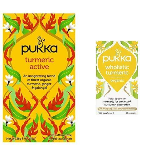 Pukka Turmeric Active, Organic Herbal Tea with Ginger & Galangal (4 Pack, 80 Tea bags) + Wholistic Turmeric, Organic Herbal Supplement, Total Spectrum Turmeric, (60 caps)