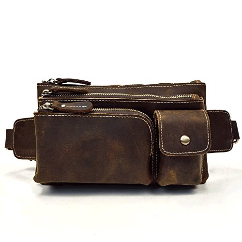 Bolso de Cuero Genuino, Fanny Pack Bum Belt Bag Bolso de Hombro para Hombres (Dark Brown)