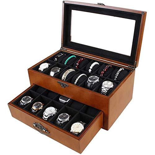 SONGTAO 2-Tier Wooden Mens Watch Box Ladies Jewelry Display Drawer Lockable Watch Case Organizer Transparent Window
