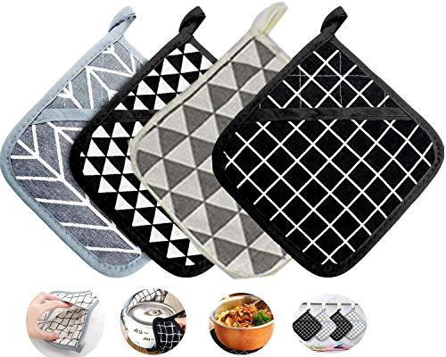 N/W Large Cotton Pot Holders Oven Mitts Set Heat Resistant Potholders Hot Pads-4 Kitchen Pot Holders Set for Cooking and Baking,with Recycled Cotton Infill Terrycloth Lining
