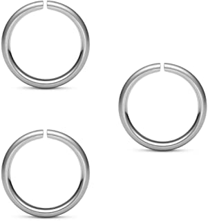 Lot of 3pc 316l Surgical Steel Nose Ring,ear Hoop,rings Rook,tragus,daith - 20 Gauge- 1/4 Length (Very Small Diameter) - S...