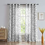 NATWIN Grey Semi-Sheer Curtains for Bedroom 95' Long White Leaf Print Curtains for Living Room Grommet Top Window Panels, 1 Pair