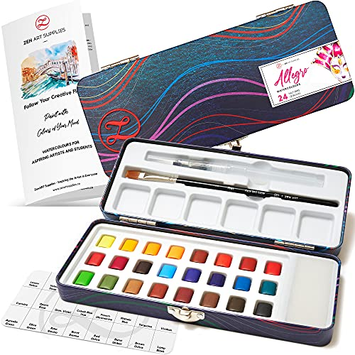 ZenART Allegro Travel Watercolor Paint Set for Beginners and Aspiring Artists – Compact Palette of 24 Warm Colors in Half Pans with Water Brush and Flat Synthetic Brush – Fade-Resistant Art Supplies