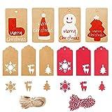 Zasiene Etiquetas Kraft 200 Piezas Etiquetas Kraft Colgando Etiqueta de Envoltura de Regalo para Decoración de Navidad Etiquetas Manualidades Decoración de Regalo con Hilo