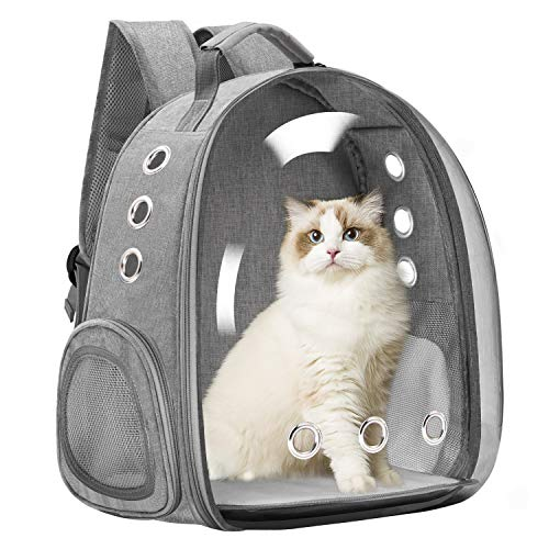 Vailge Cat Carrier Backpack, Pet Carrier Backpack Front Pack for Small Medium Cat Puppy Dog Carrier Backpack Bag Space Capsule, Pet Carrier for Travel Hiking Walking Camping (Grey)