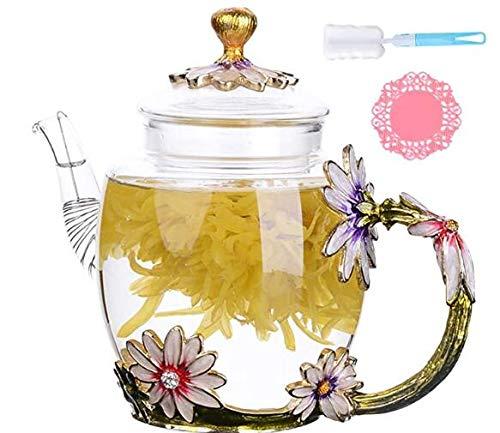 DOUHAO Teekanne mit Blumen-Emaille, kreativer Kung-Fu-Teekessel für heiße Getränke, Eistee für Ehefrau, Mutter, Geburtstag, Valentinstag, Muttertag, Hochzeitstag, Geschenk
