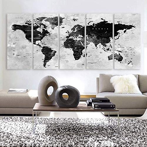 Original by BoxColors XLARGE 30'x 70' 5 Panels 30'x14' Ea Art Canvas Print Watercolor Map World Countries Cities Push Pin Travel Wall color Black White Gray decor Home interior (framed 1.5' depth)