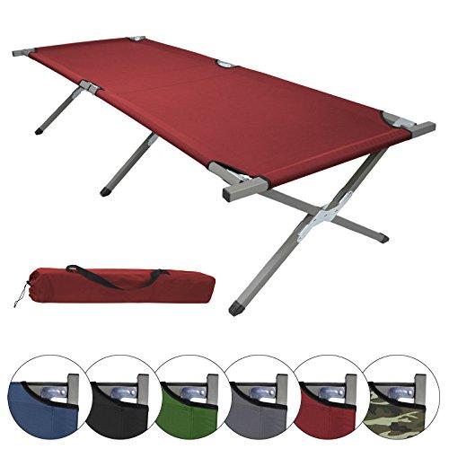 BB Sport Feldbett Klappbett 190 x 64 x 41 cm Stabiles Campingbett bis 120 kg Belastbar Tragbar Tasche Liege Reise Bequem, Farbe:rot