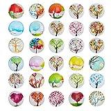 NBEADS 100 Piezas Árbol de la Vida Cabujones Impresos Medio Círculo/Cúpula Cabujón de Cristal Scrapbooking, Color Mezclado, 25X7 Mm