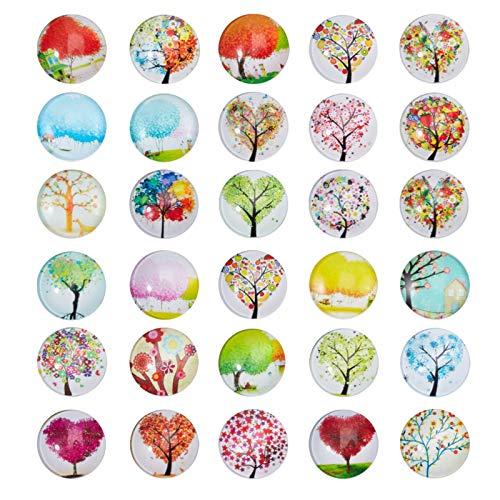 NBEADS 100 Stück Baum des Lebens Cabochons gedruckt halbe Runde/Kuppel Glas Cabochon für Scrapbooking, Mischfarbe, 25x7mm
