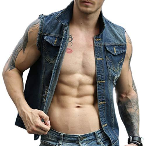 Vest de blauwe vlekken van jeanswestenmannen retro modetrendy stadspunkjugend stadspaar mouwloze cowboy gilets