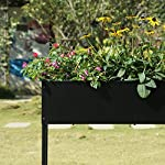 "Mixc raised garden bed, metal elevated outdoor planter box for backyard & patio,large planter for vegetable flower herb… 14 【sturdy design garden box 】compared to other products, square iron table legs are designed instead of the l-shaped table legs in the mixc raised garden bed, which can provide more sufficient support and not easy to break down. The flower box weight capacity up to 185 lbs, bottom partition can support 90 lbs. 【fits perfectly into garden】35. 8""*15. 9""*31"" overall, planting box: 8. 3"" deep, holds about 2. 1 cubic feet soil, provide ample growing space to raise vegetables, herb, flower and plant. It can place outdoor for long time use. 【garden bed everywhere 】this raised garden bed has two smooth wheels on one side and a handle on the other, making it easy to move the herb planter wherever you like. Fixed hooks on the side allow you to hang ready-to-use garden tools."
